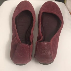Tory Burch maroon red suede flats